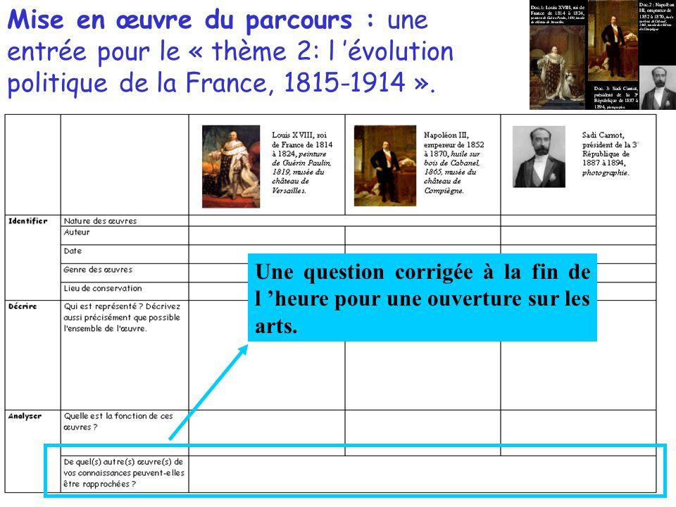 Mise en œuvre du parcours : une entrée pour le « thème 2: l 'évolution politique de la France, 1815-1914 ».