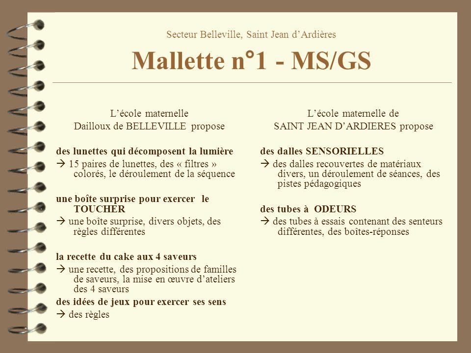 Secteur Belleville, Saint Jean d'Ardières Mallette n°1 - MS/GS