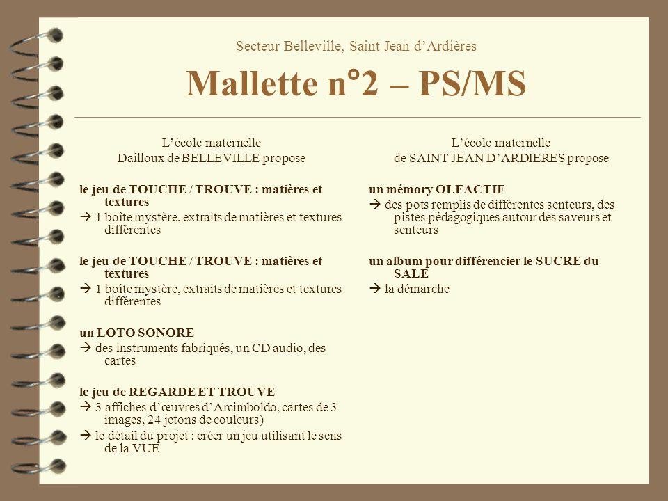 Secteur Belleville, Saint Jean d'Ardières Mallette n°2 – PS/MS