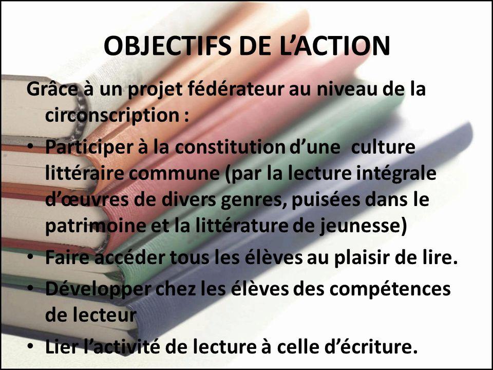 OBJECTIFS DE L'ACTION Grâce à un projet fédérateur au niveau de la circonscription :
