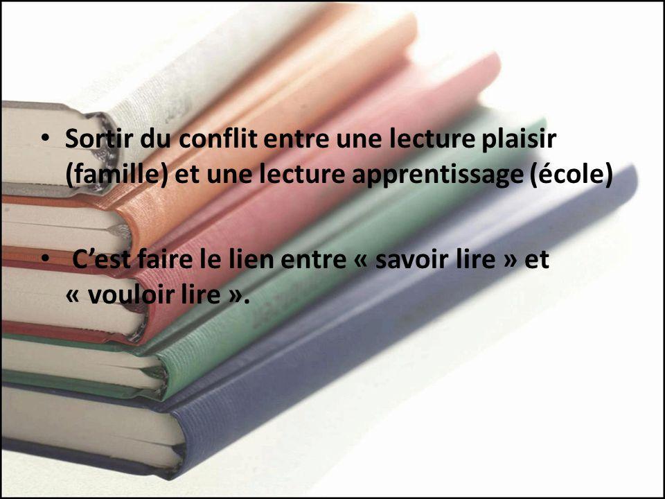 Sortir du conflit entre une lecture plaisir (famille) et une lecture apprentissage (école)