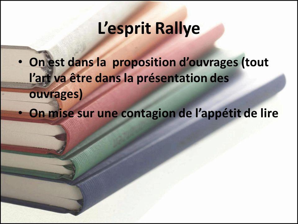 L'esprit Rallye On est dans la proposition d'ouvrages (tout l'art va être dans la présentation des ouvrages)