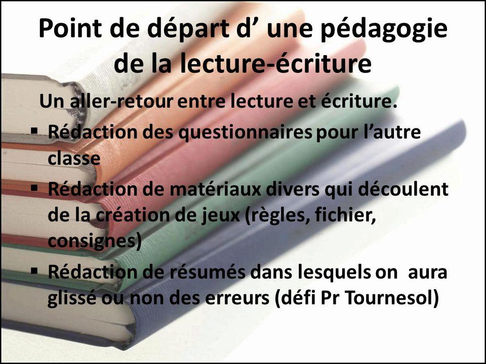 Point de départ d' une pédagogie de la lecture-écriture