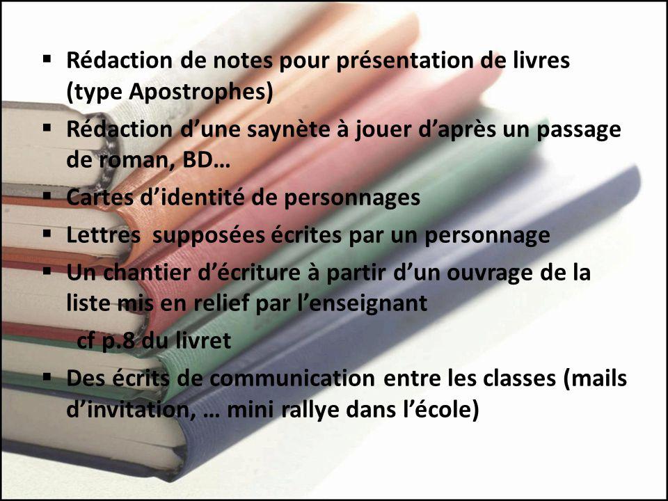 Rédaction de notes pour présentation de livres (type Apostrophes)