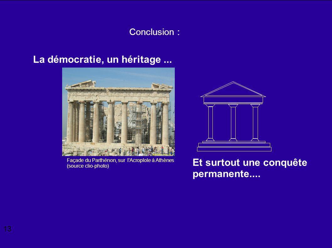 La démocratie, un héritage ...