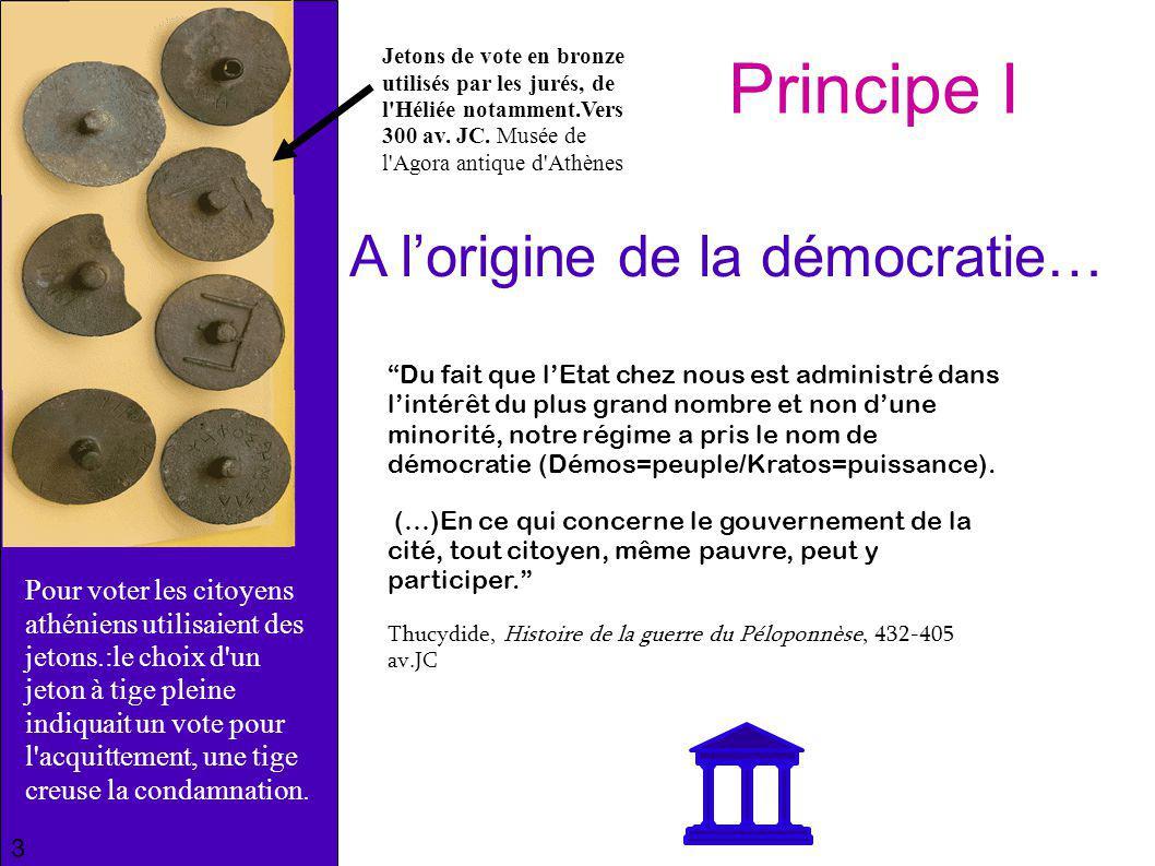 Principe I A l'origine de la démocratie…