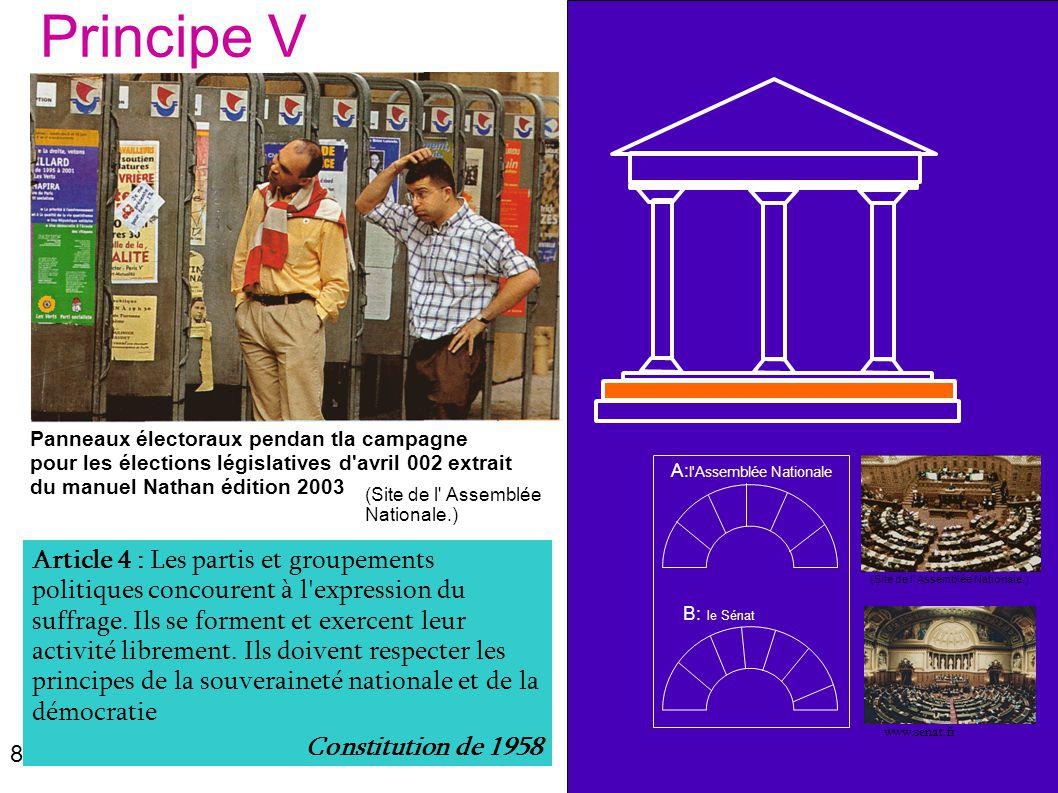 Principe V Panneaux électoraux pendan tla campagne pour les élections législatives d avril 002 extrait du manuel Nathan édition 2003.