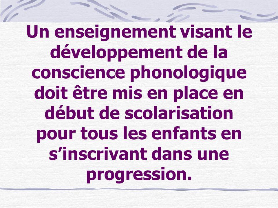 Un enseignement visant le développement de la conscience phonologique doit être mis en place en début de scolarisation pour tous les enfants en s'inscrivant dans une progression.