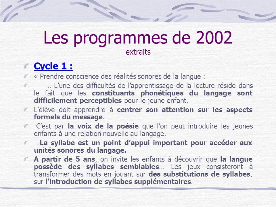 Les programmes de 2002 extraits