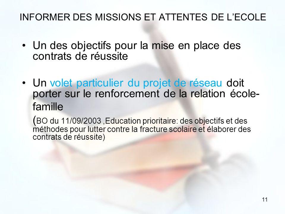 INFORMER DES MISSIONS ET ATTENTES DE L'ECOLE