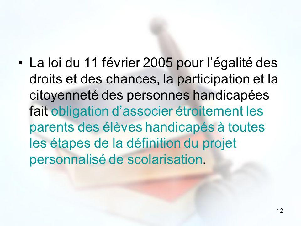 La loi du 11 février 2005 pour l'égalité des droits et des chances, la participation et la citoyenneté des personnes handicapées fait obligation d'associer étroitement les parents des élèves handicapés à toutes les étapes de la définition du projet personnalisé de scolarisation.