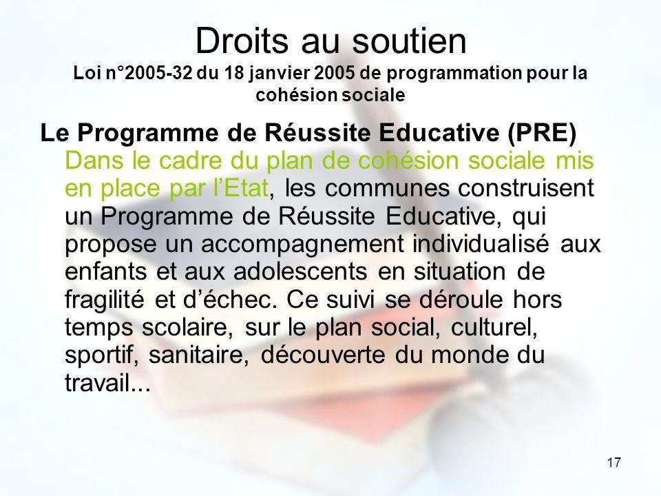 Droits au soutien Loi n°2005-32 du 18 janvier 2005 de programmation pour la cohésion sociale