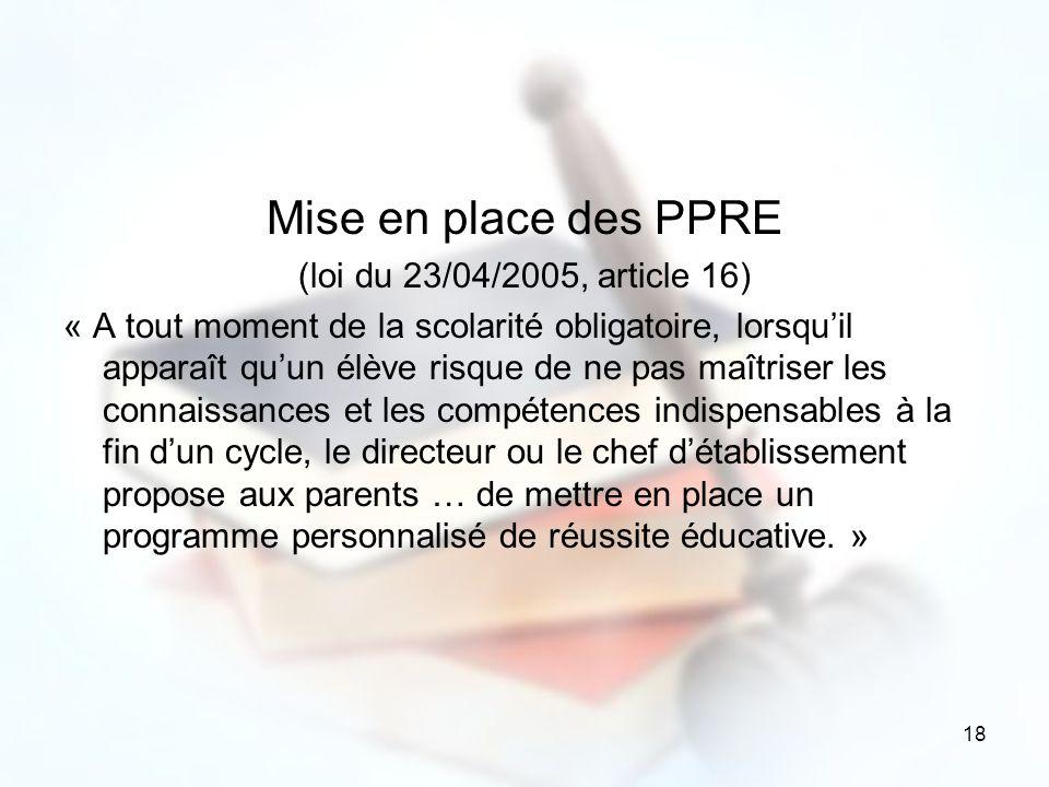 Mise en place des PPRE (loi du 23/04/2005, article 16)