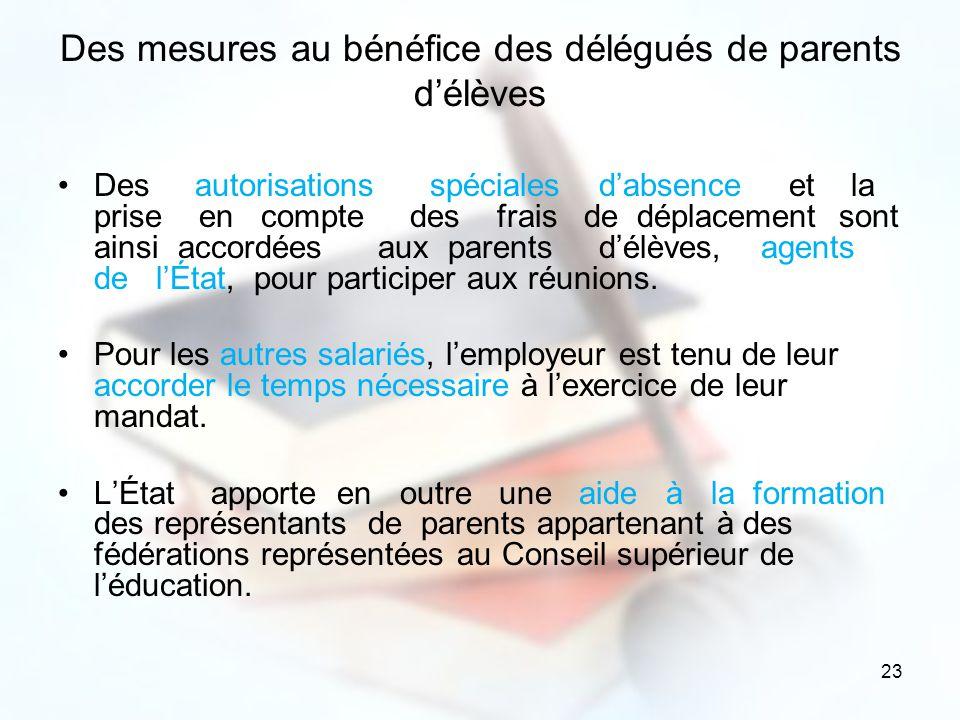 Des mesures au bénéfice des délégués de parents d'élèves