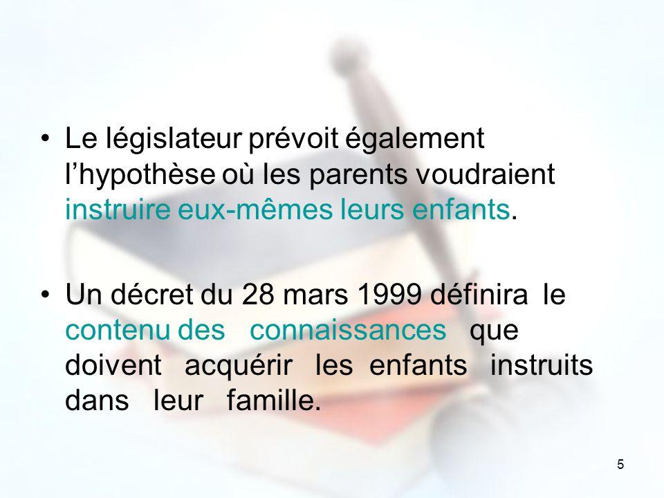 Le législateur prévoit également l'hypothèse où les parents voudraient instruire eux-mêmes leurs enfants.