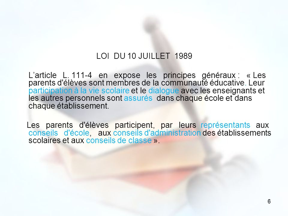 LOI DU 10 JUILLET 1989