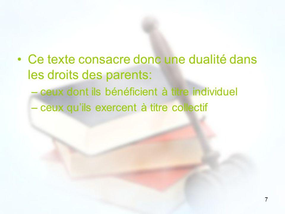 Ce texte consacre donc une dualité dans les droits des parents: