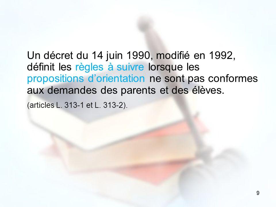 Un décret du 14 juin 1990, modifié en 1992, définit les règles à suivre lorsque les propositions d'orientation ne sont pas conformes aux demandes des parents et des élèves.