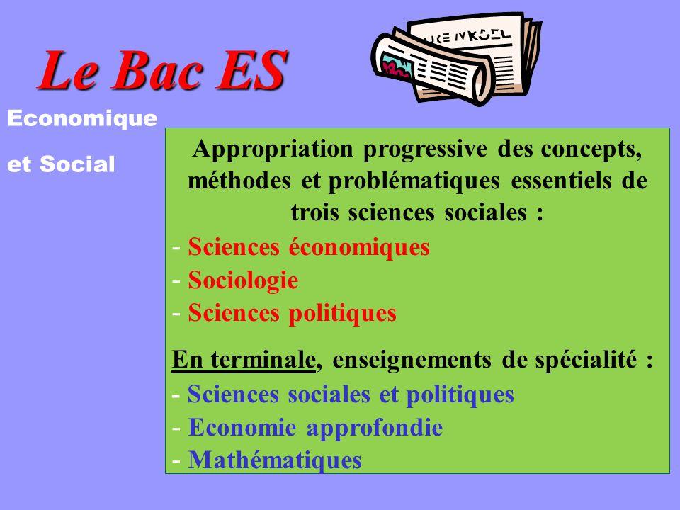 Le Bac ES Economique. et Social. Appropriation progressive des concepts, méthodes et problématiques essentiels de trois sciences sociales :