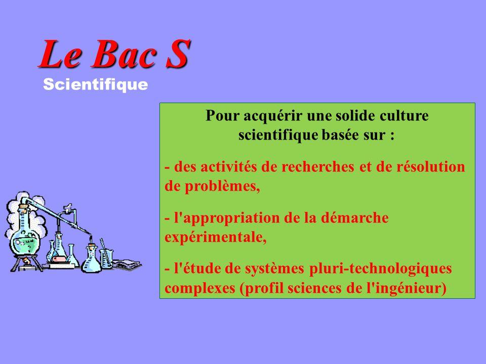 Pour acquérir une solide culture scientifique basée sur :