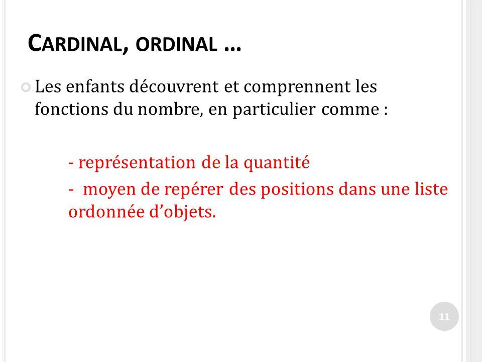 Cardinal, ordinal … Les enfants découvrent et comprennent les fonctions du nombre, en particulier comme :