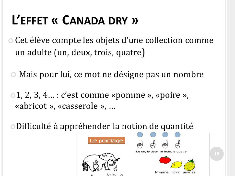 L'effet « Canada dry » Mais pour lui, ce mot ne désigne pas un nombre