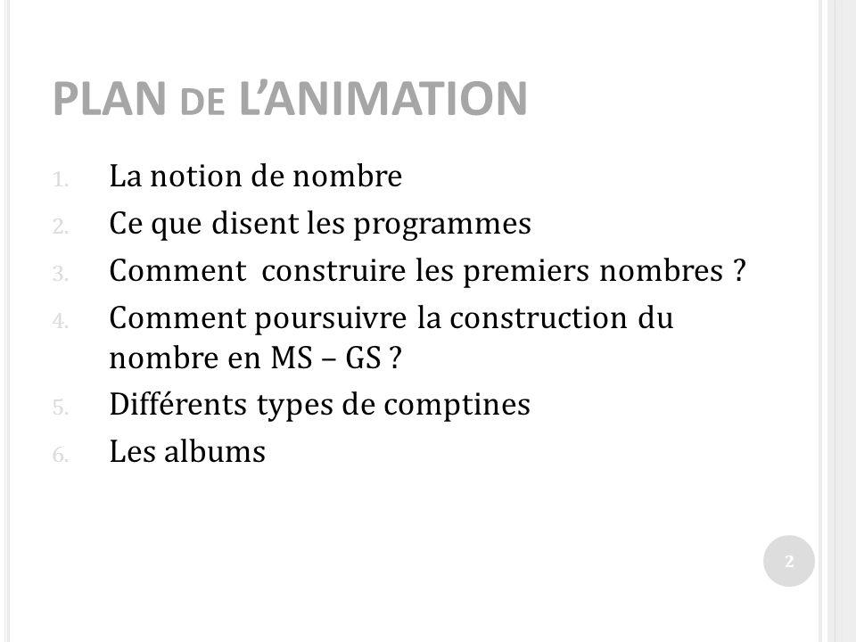 PLAN de L'ANIMATION La notion de nombre Ce que disent les programmes
