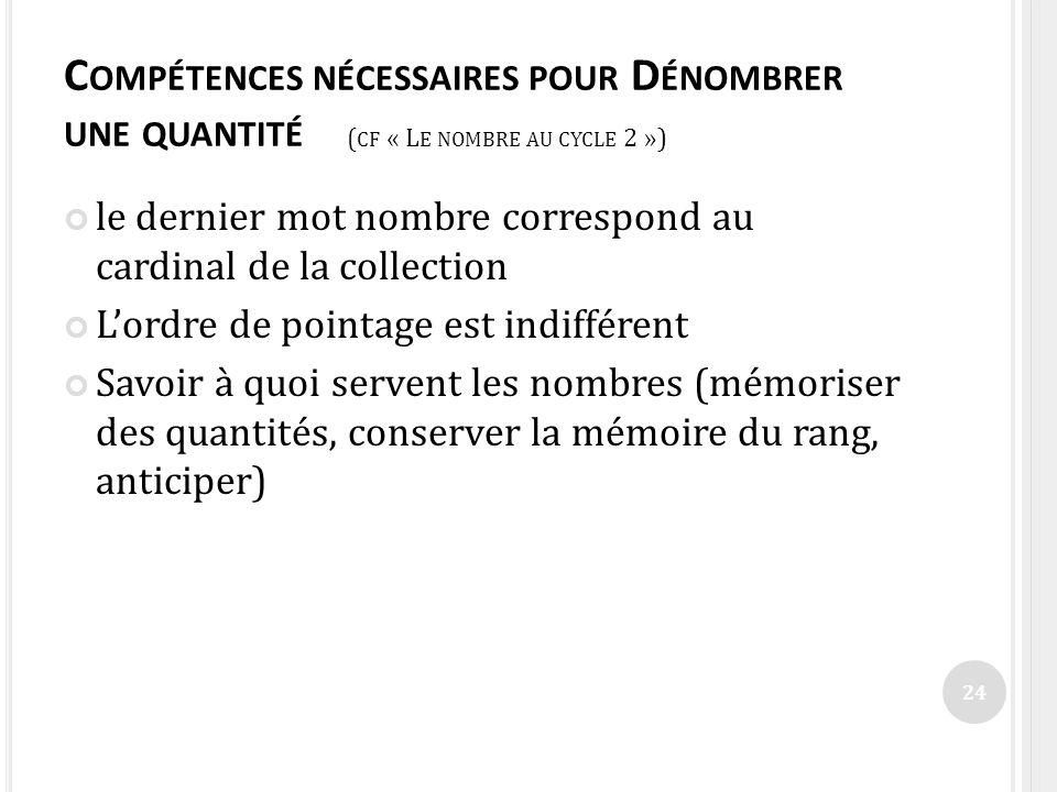 Compétences nécessaires pour Dénombrer une quantité (cf « Le nombre au cycle 2 »)