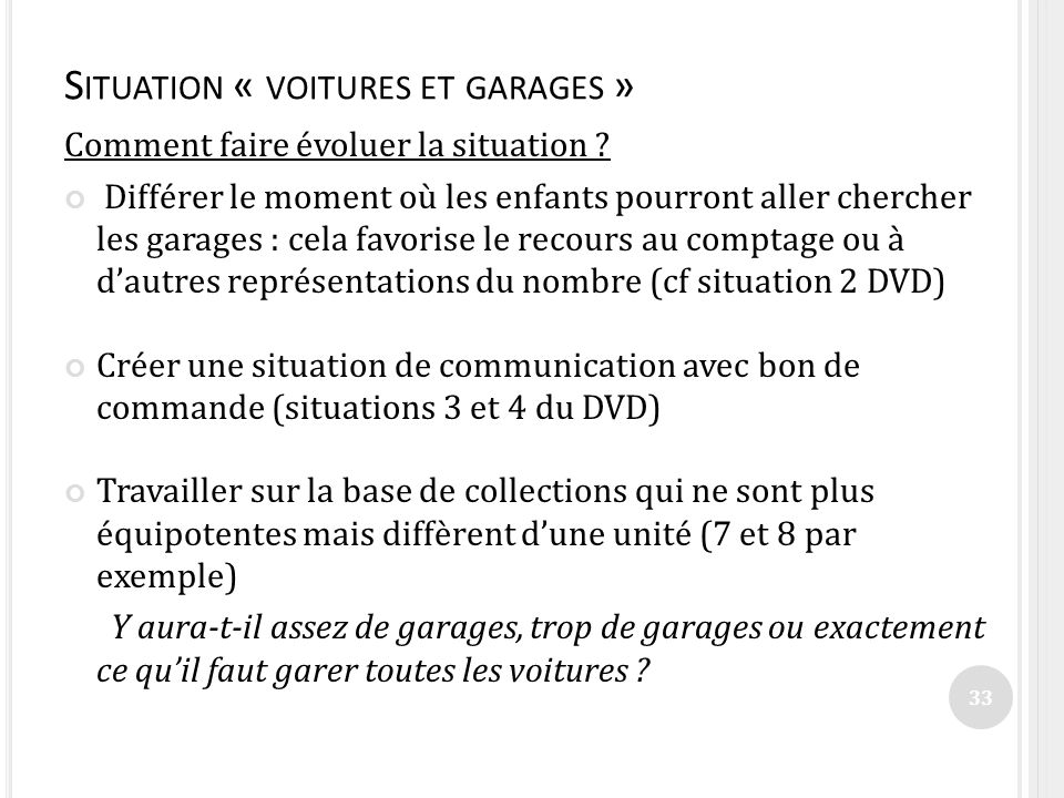 Situation « voitures et garages »