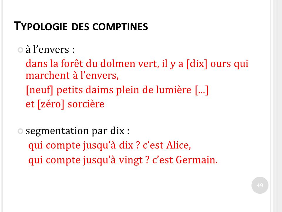 Typologie des comptines