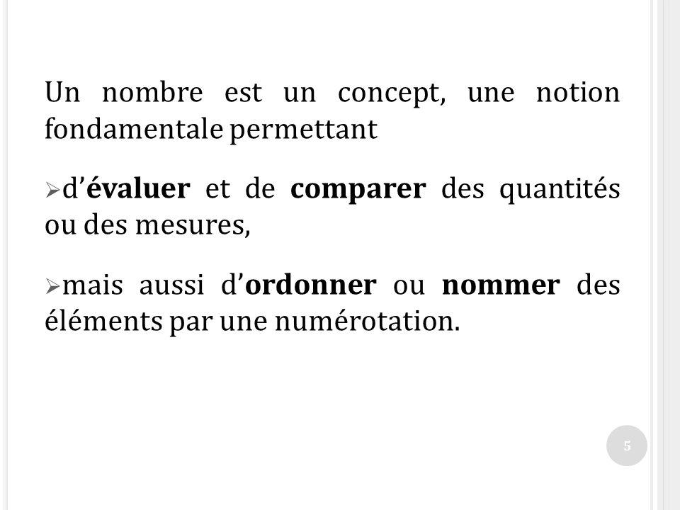 Un nombre est un concept, une notion fondamentale permettant