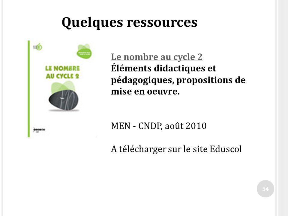 Quelques ressources MEN - CNDP, août 2010