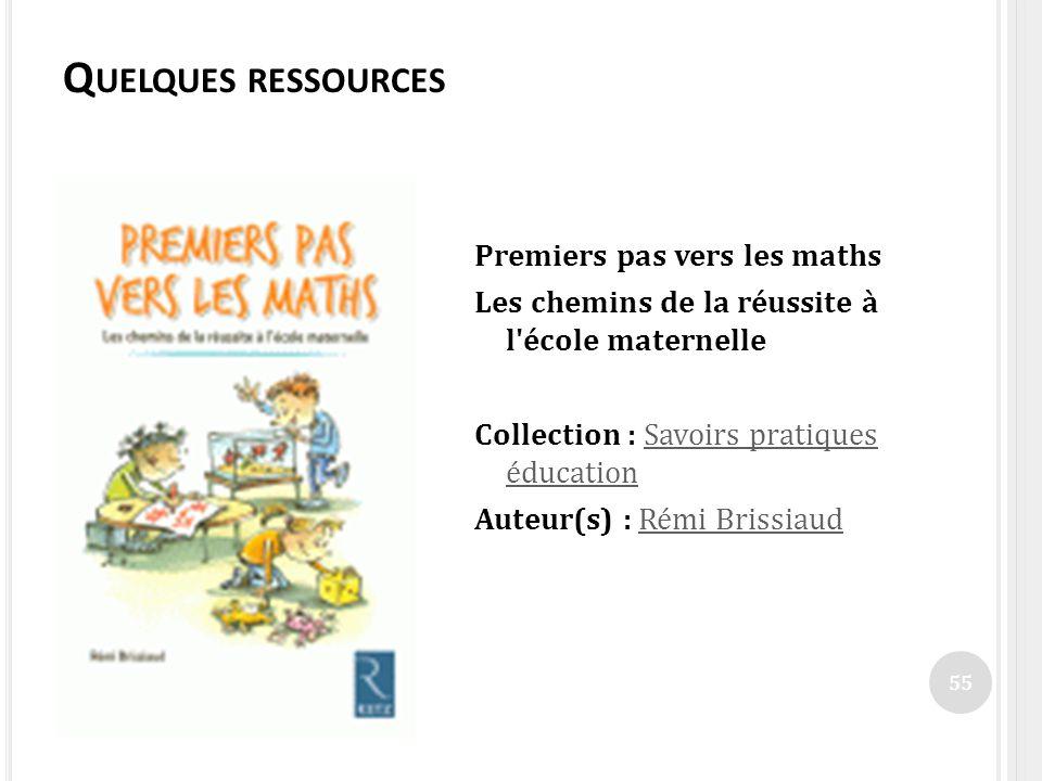 Quelques ressources Premiers pas vers les maths