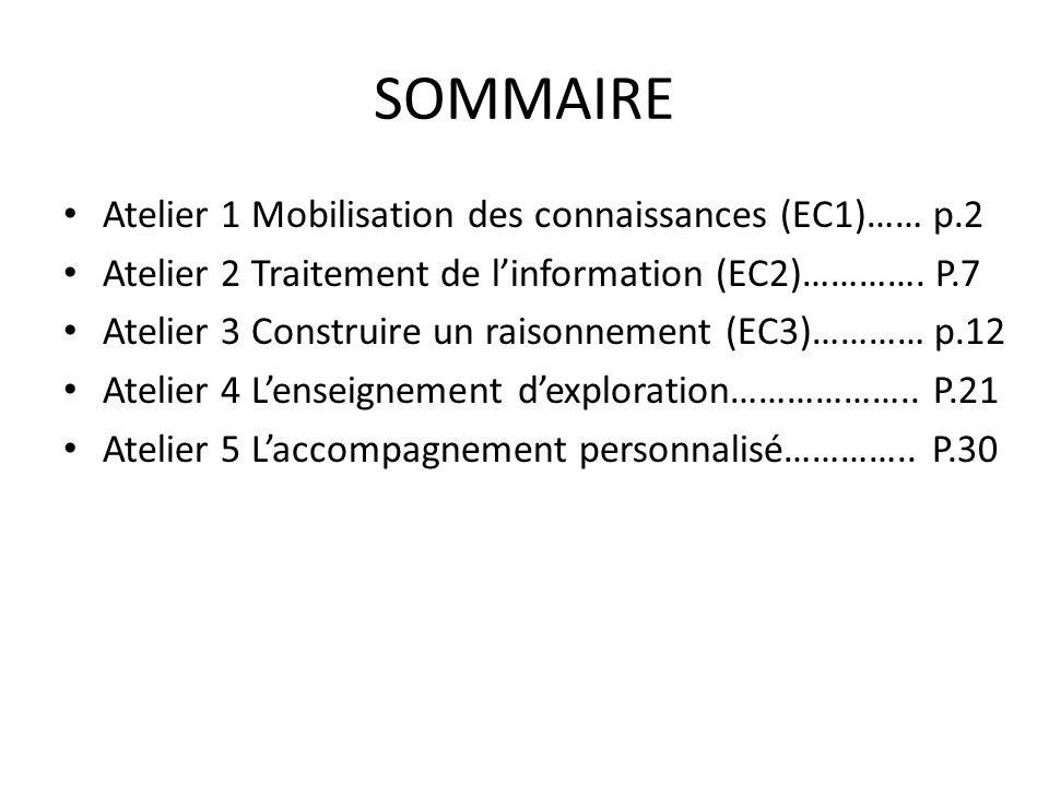 SOMMAIRE Atelier 1 Mobilisation des connaissances (EC1)…… p.2