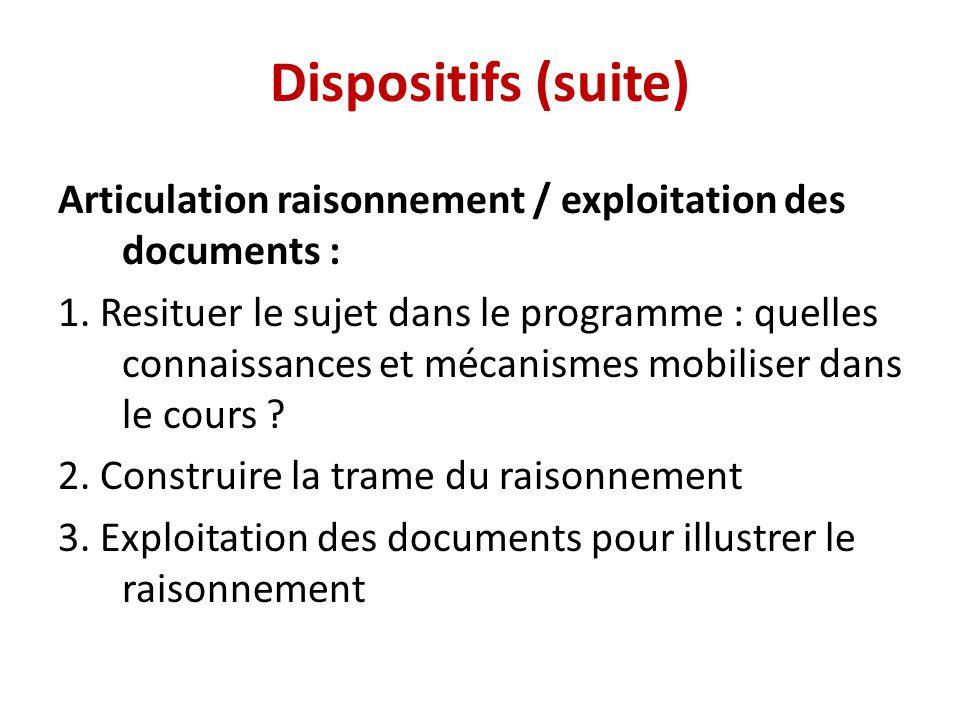 Dispositifs (suite) Articulation raisonnement / exploitation des documents :
