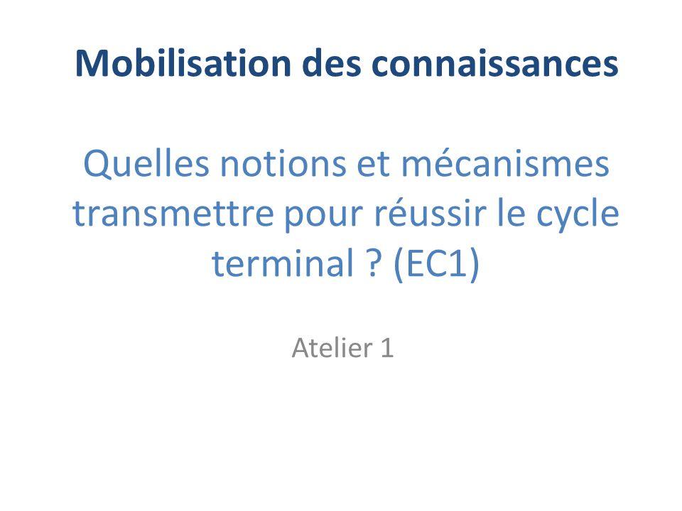 Mobilisation des connaissances Quelles notions et mécanismes transmettre pour réussir le cycle terminal (EC1)