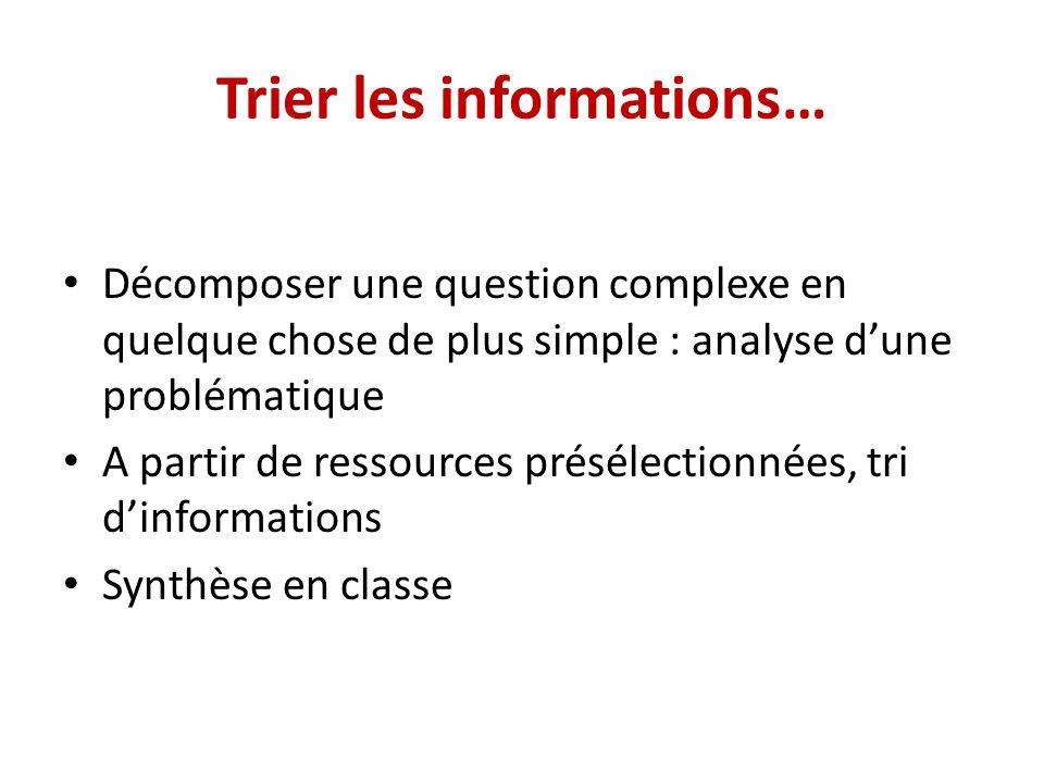 Trier les informations…