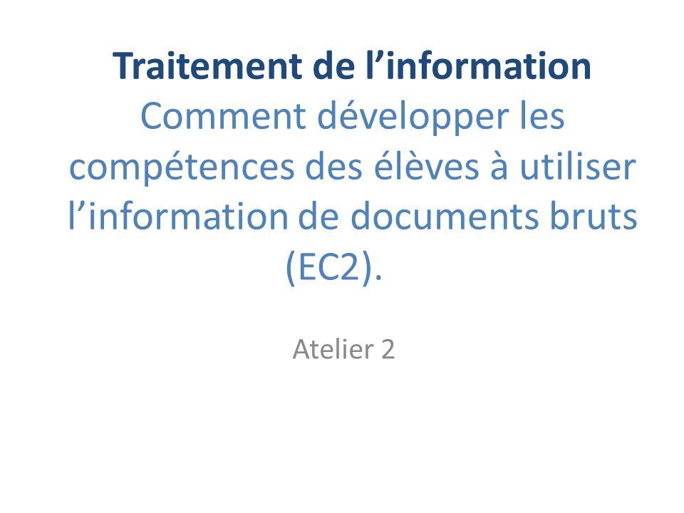 Traitement de l'information Comment développer les compétences des élèves à utiliser l'information de documents bruts (EC2).