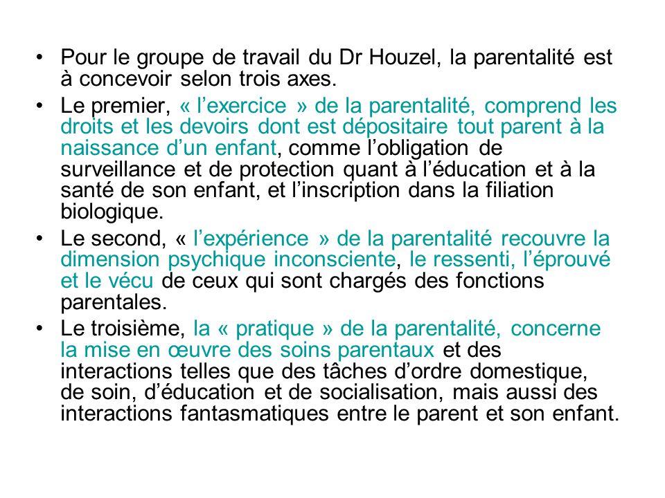 Pour le groupe de travail du Dr Houzel, la parentalité est à concevoir selon trois axes.