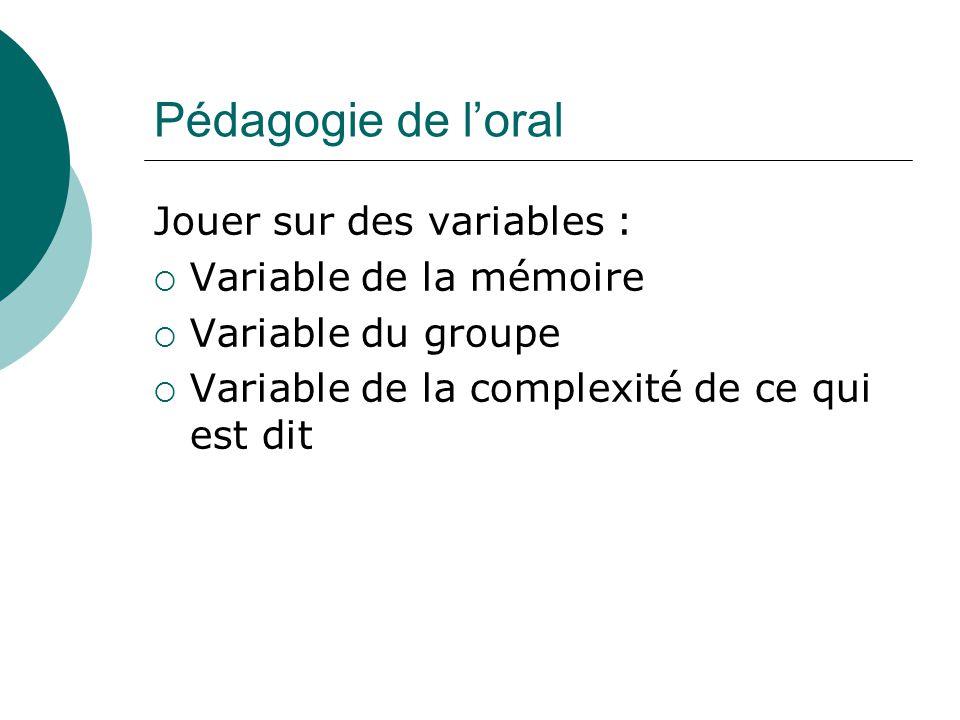 Pédagogie de l'oral Jouer sur des variables : Variable de la mémoire