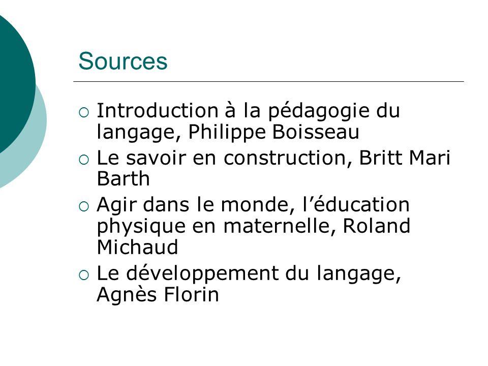 Sources Introduction à la pédagogie du langage, Philippe Boisseau