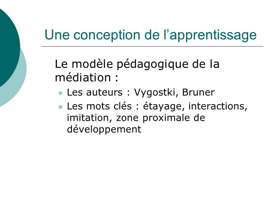 Une conception de l'apprentissage