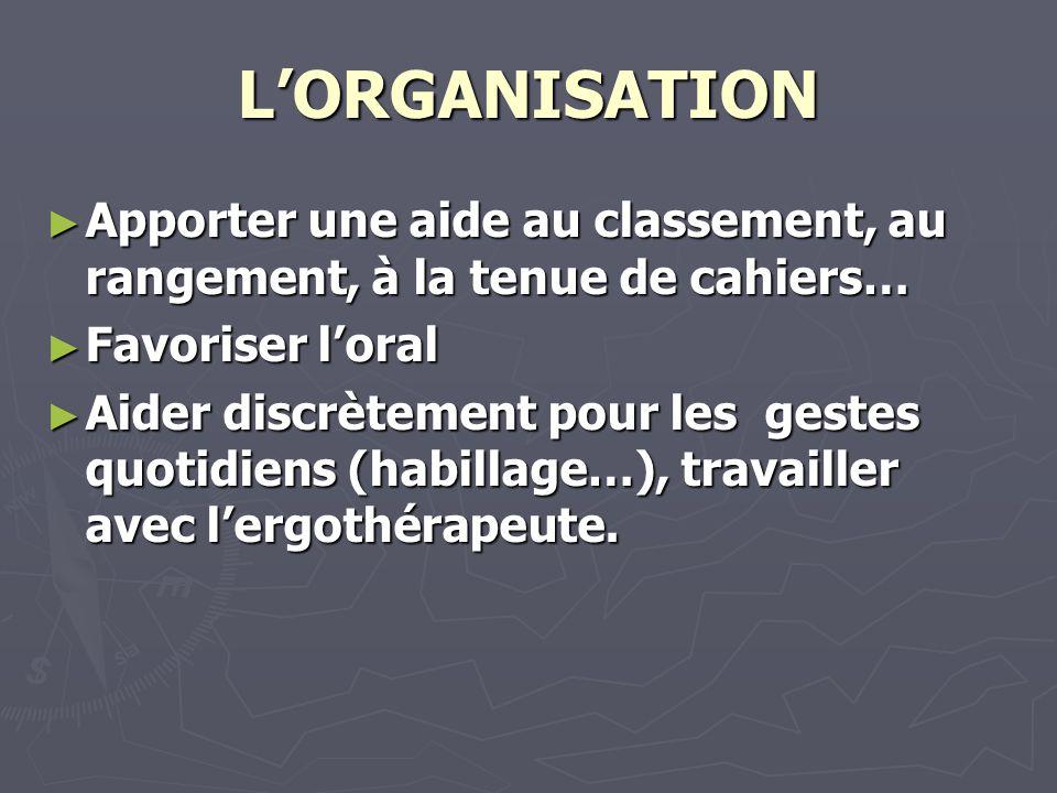 L'ORGANISATION Apporter une aide au classement, au rangement, à la tenue de cahiers… Favoriser l'oral.