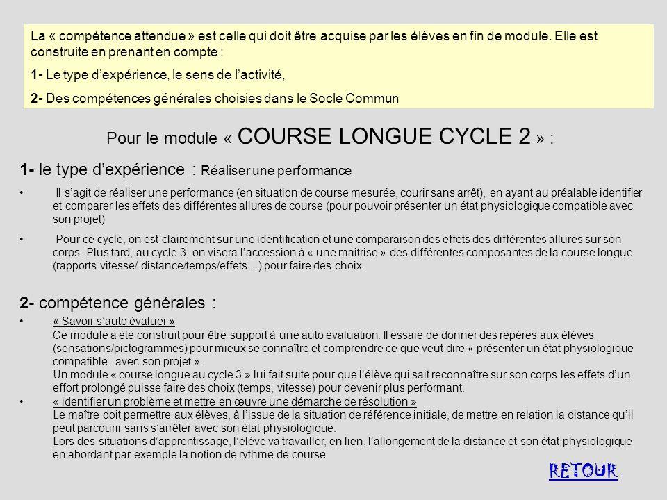 Pour le module « COURSE LONGUE CYCLE 2 » :