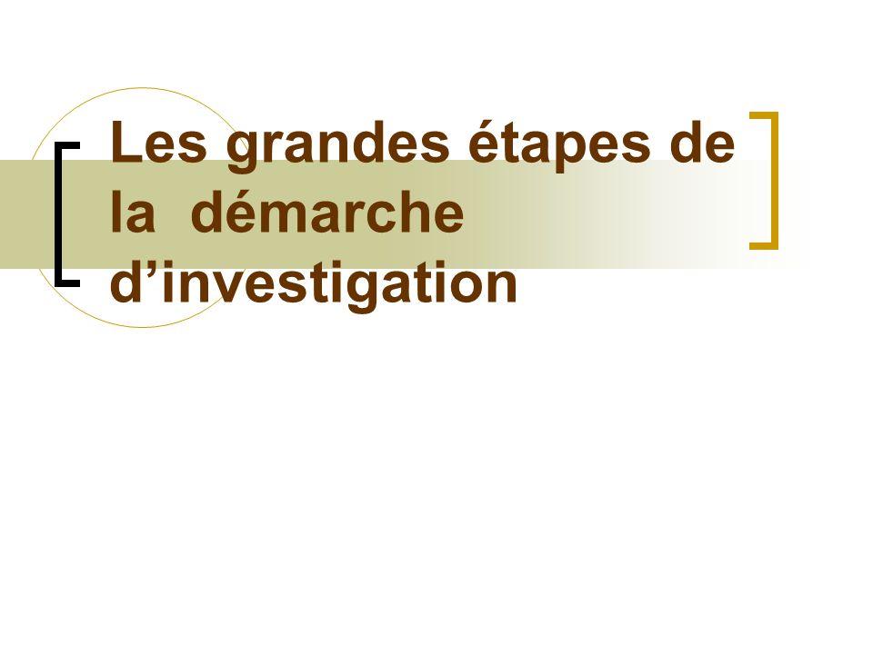 Les grandes étapes de la démarche d'investigation