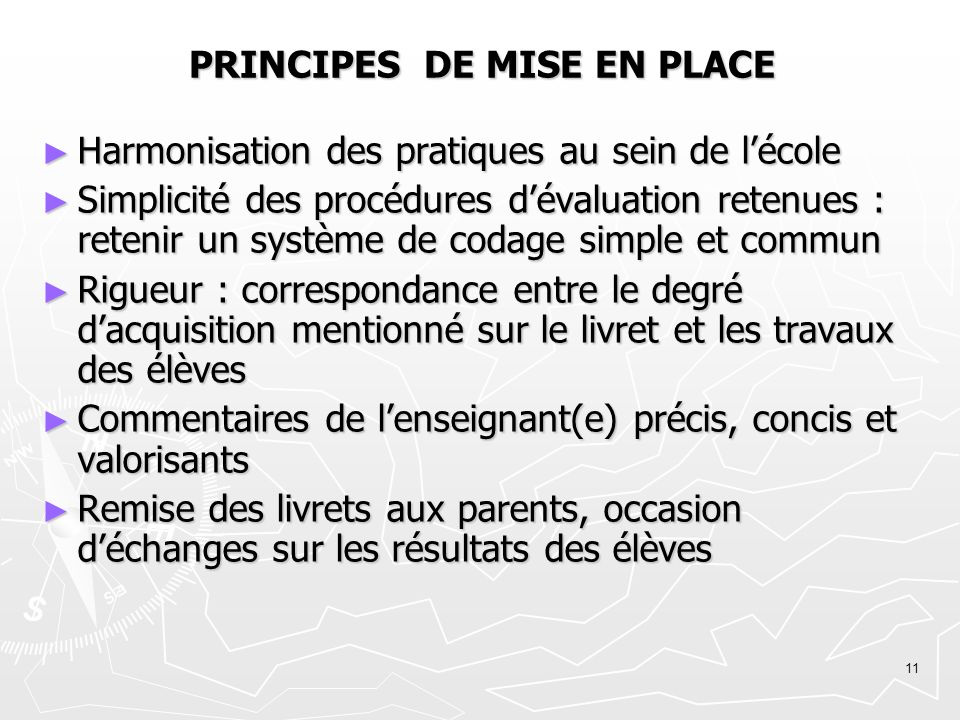 PRINCIPES DE MISE EN PLACE