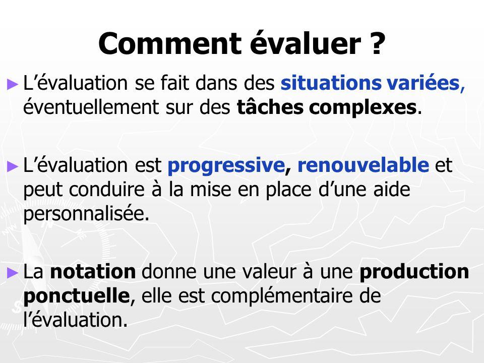 Comment évaluer L'évaluation se fait dans des situations variées, éventuellement sur des tâches complexes.