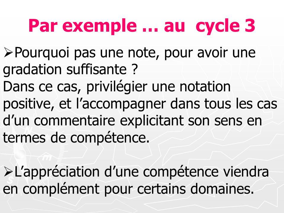 Par exemple … au cycle 3 Pourquoi pas une note, pour avoir une gradation suffisante