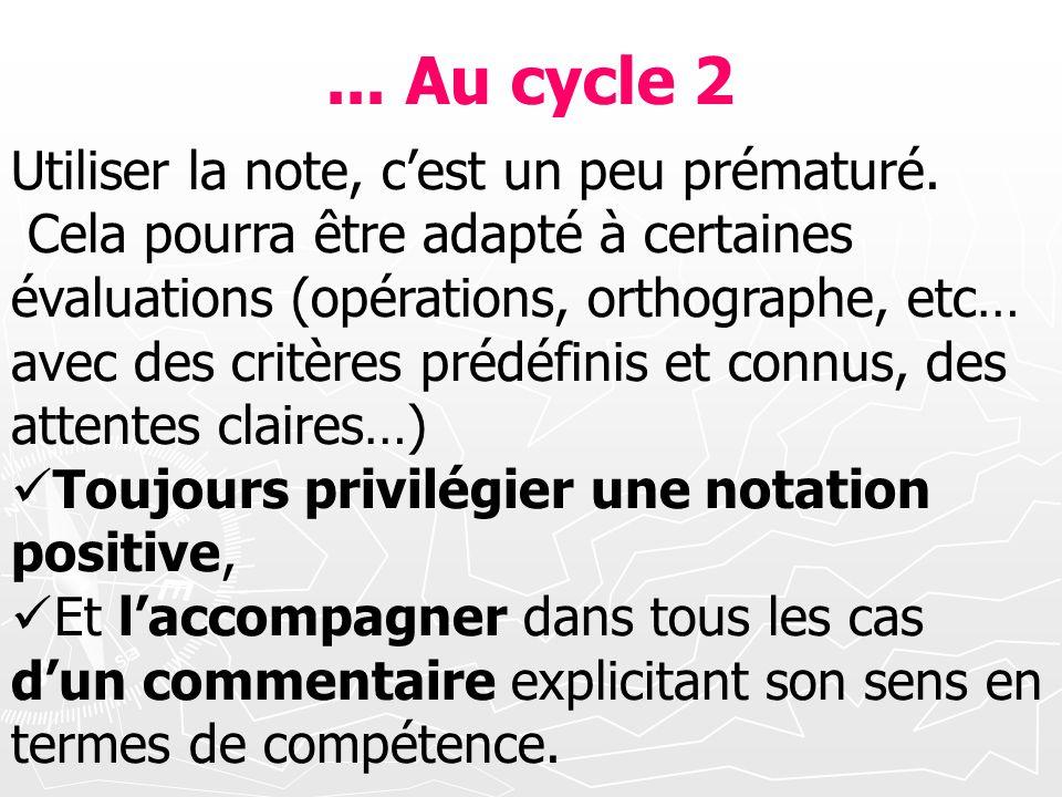 ... Au cycle 2 Utiliser la note, c'est un peu prématuré.