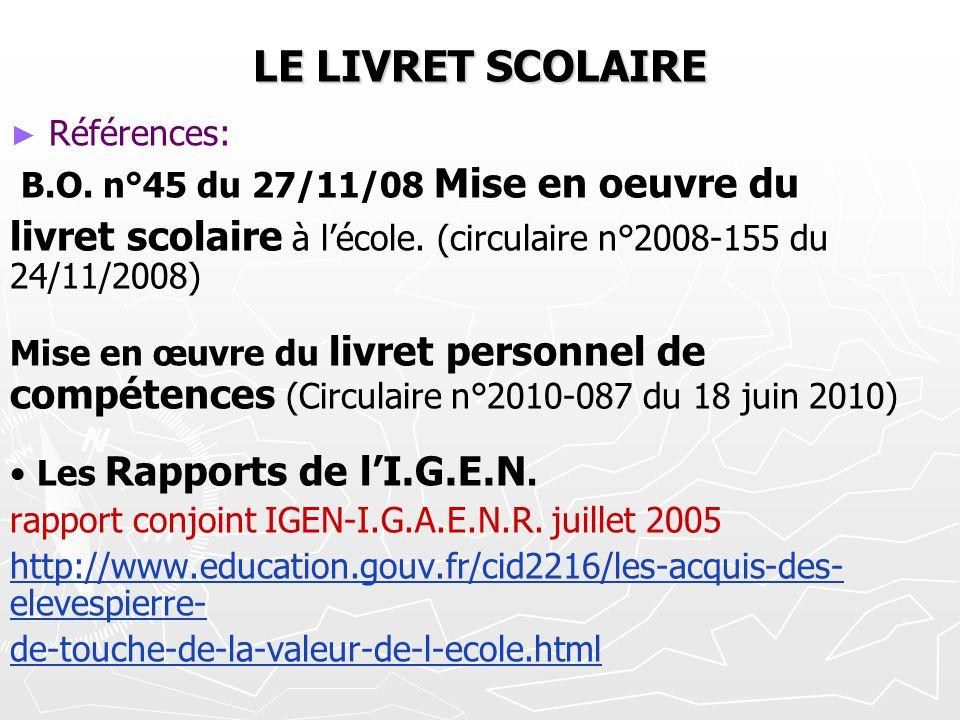 LE LIVRET SCOLAIRE Références: B.O. n°45 du 27/11/08 Mise en oeuvre du. livret scolaire à l'école. (circulaire n°2008-155 du 24/11/2008)